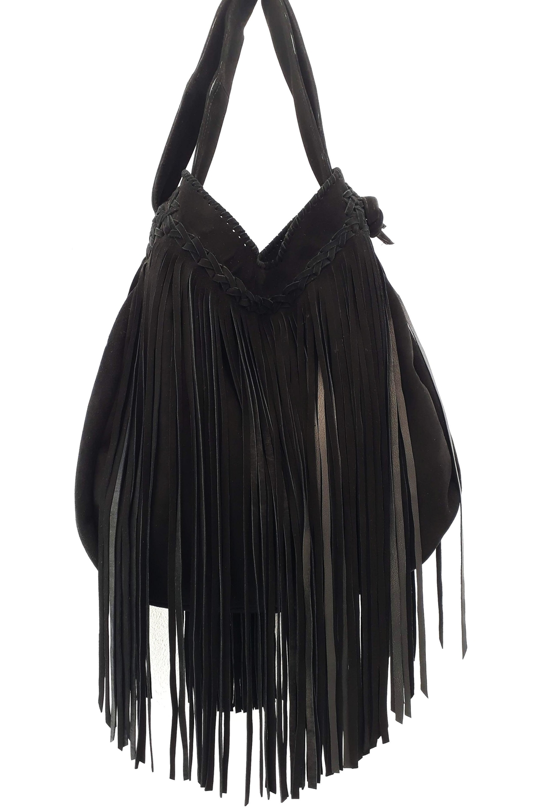 Areias Leather Black Suede Bag - Front Cropped Image