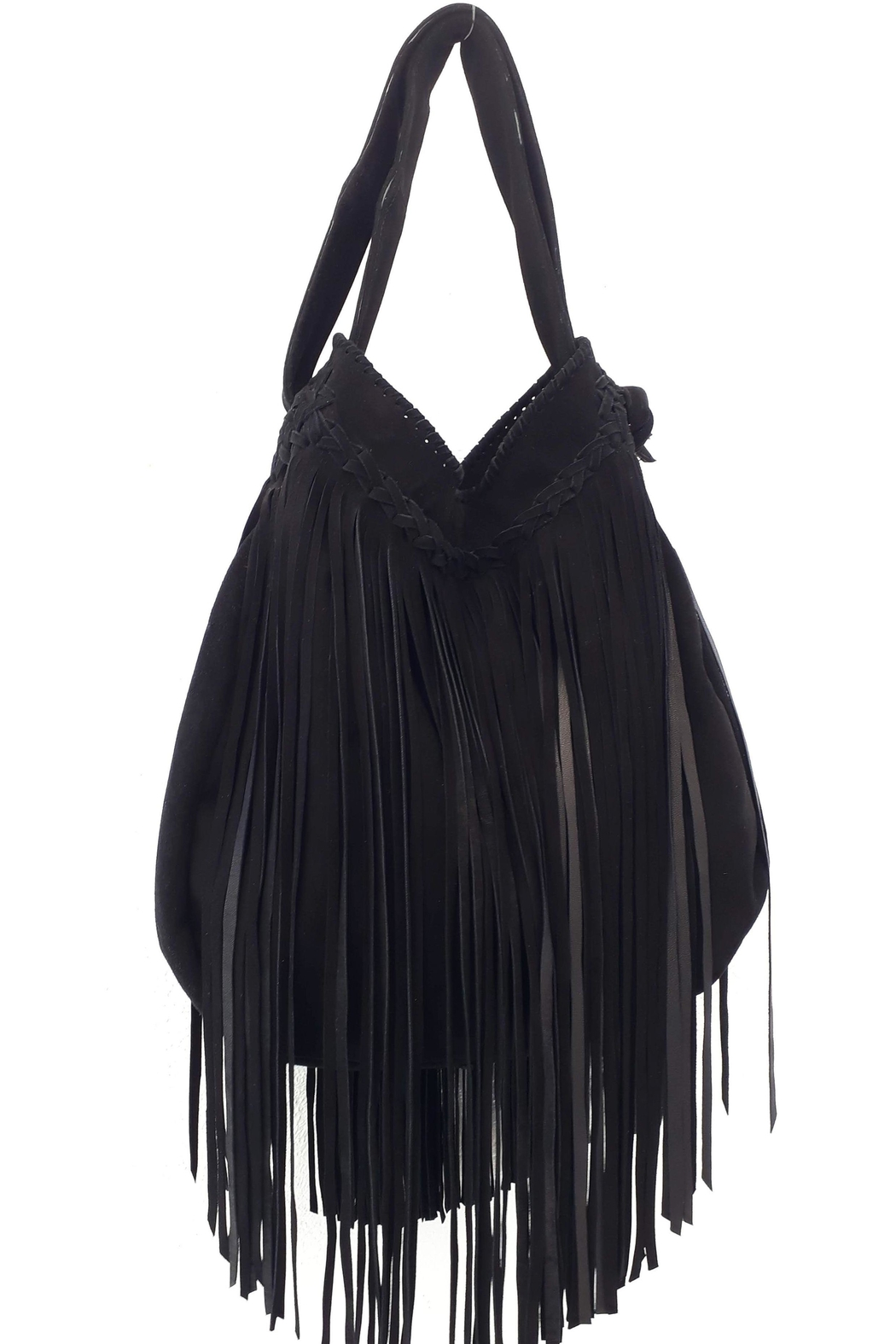 Areias Leather Black Suede Bag - Front Full Image