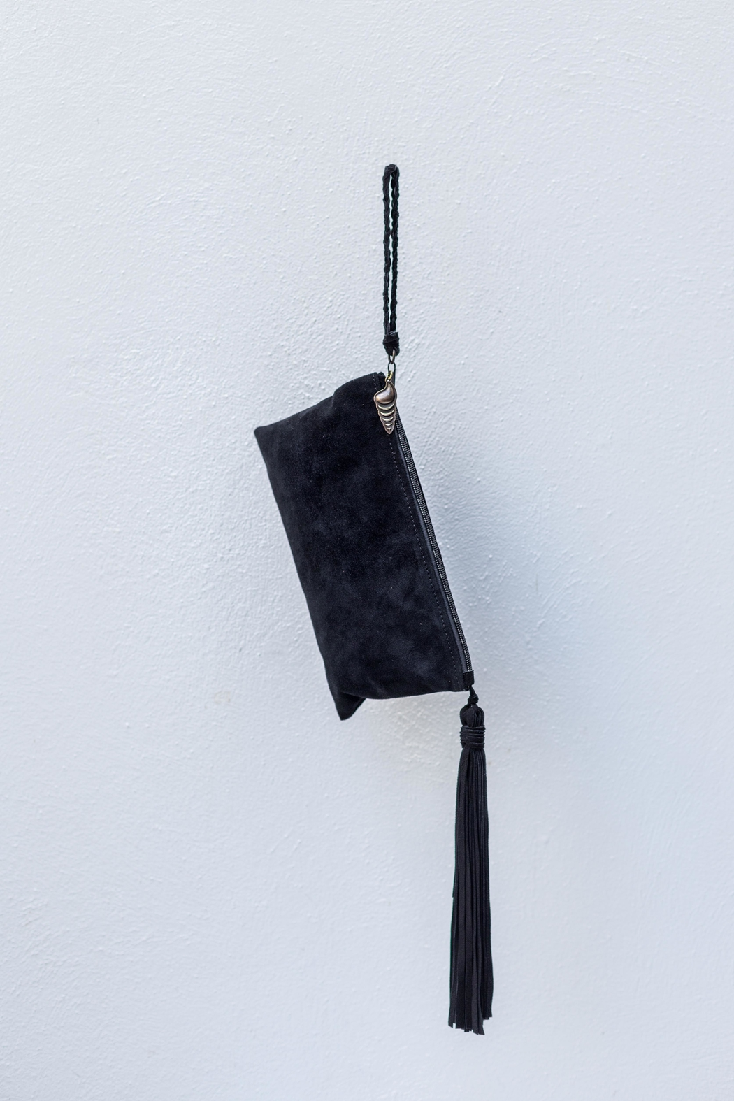 Areias Leather Black Suede Clutch - Front Full Image