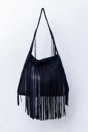 Areias Leather Black Suede Fringe-Bag - Product Mini Image