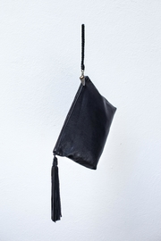 Areias Leather Black Tassel Clutch - Product Mini Image