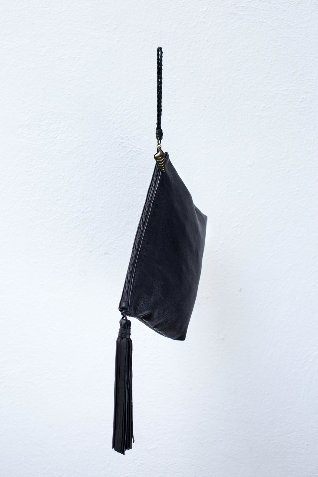 Areias Leather Black Tassel Clutch - Front Full Image