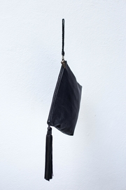 Areias Leather Black Tassel Clutch - Front full body