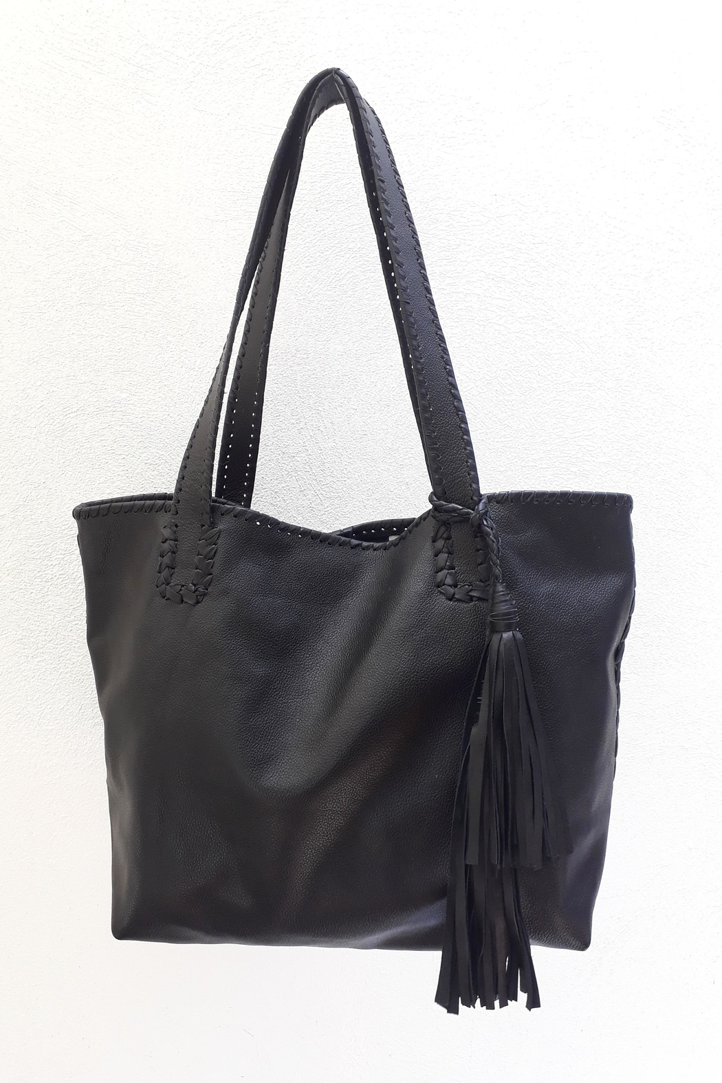 Areias Leather Black Tote Bag - Main Image