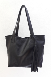 Areias Leather Black Tote Bag - Front cropped