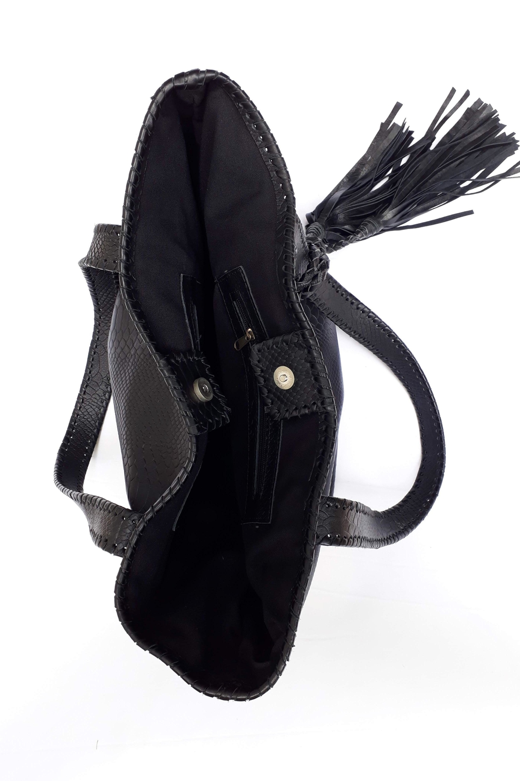 Areias Leather Black Tote Bag - Back Cropped Image