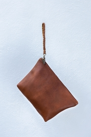 Areias Leather Brown Clutch - Front cropped
