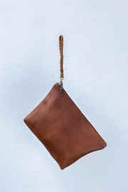 Areias Leather Brown Clutch - Front full body