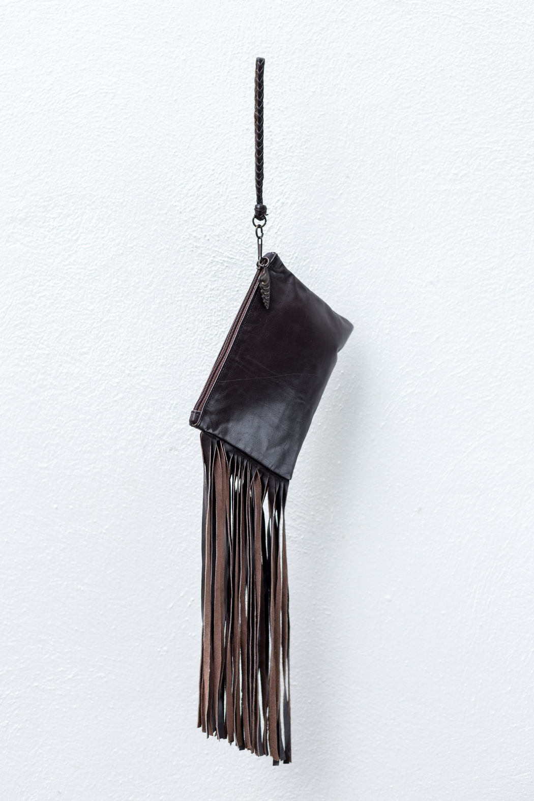 Areias Leather Brown Fringes Mini-Clutch - Front Full Image
