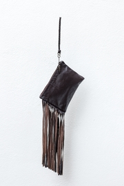 Areias Leather Brown Fringes Mini-Clutch - Front cropped