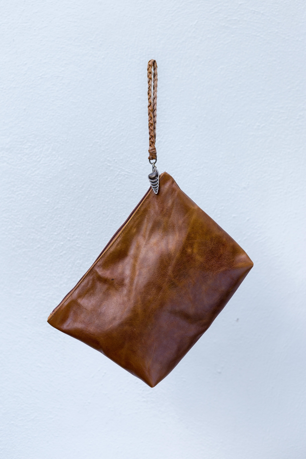 Areias Leather Caramel Leather Clutch - Front Cropped Image