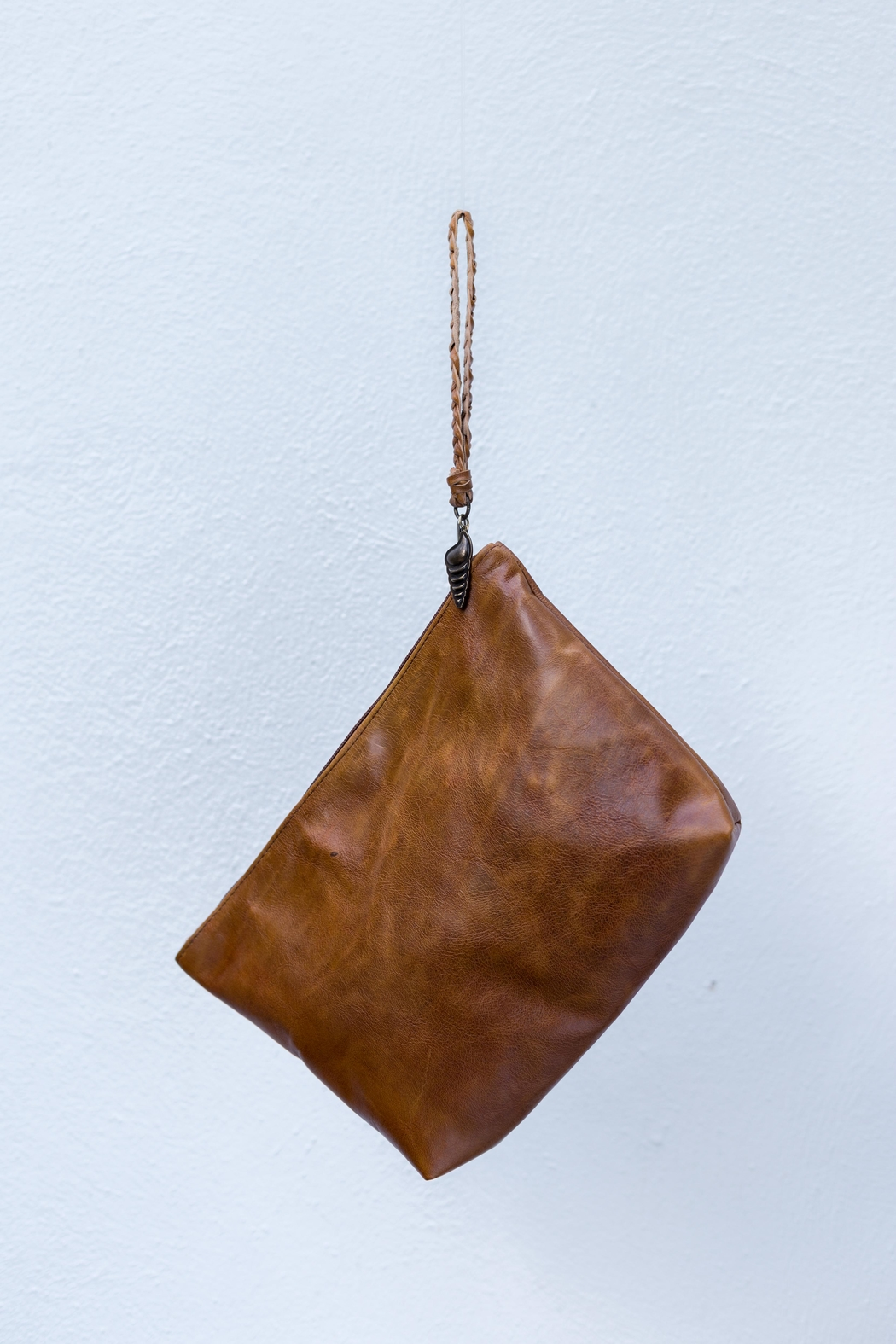 Areias Leather Caramel Leather Clutch - Front Full Image