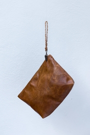 Areias Leather Caramel Leather Clutch - Front full body