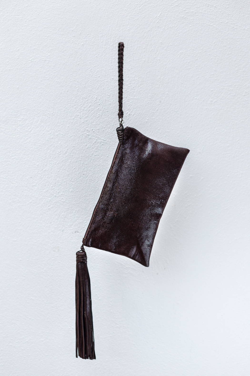 Areias Leather Brown Snake Print-Clutch - Side Cropped Image