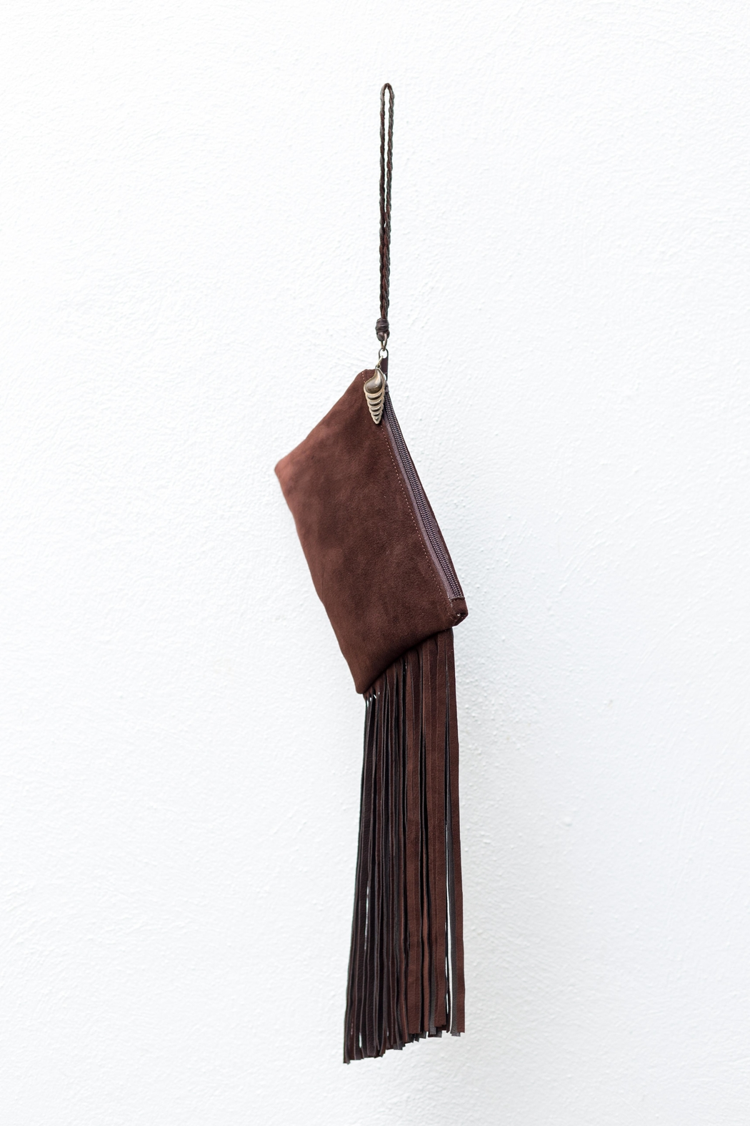 Areias Leather Brown Suede Mini-Clutch - Front Full Image
