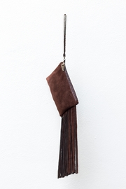Areias Leather Brown Suede Mini-Clutch - Front full body