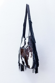 Areias Leather Calf Hair Fringe-Bag - Side cropped