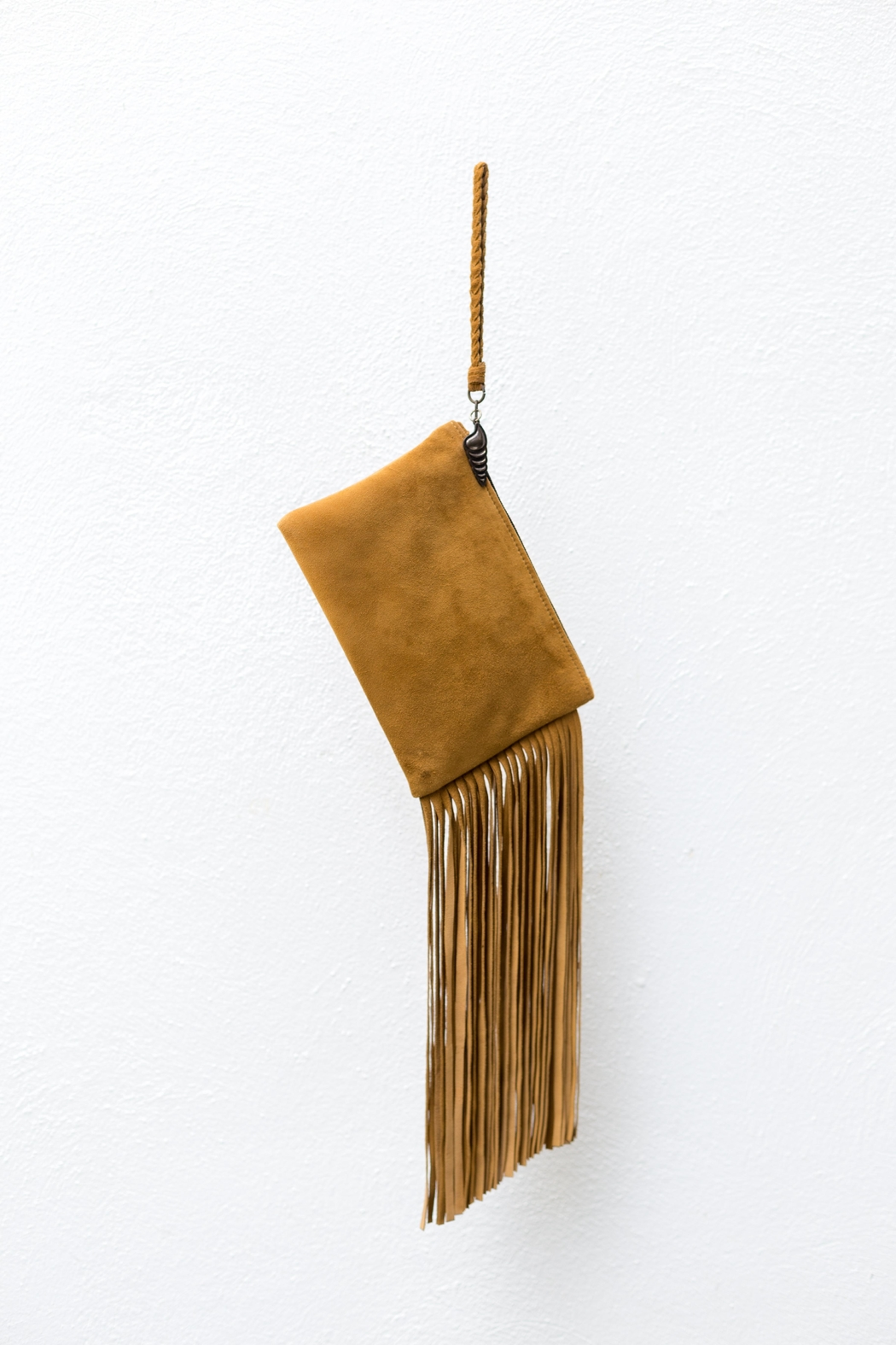 Areias Leather Camel Fringes Mini-Clutch - Front Cropped Image