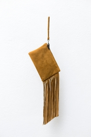Areias Leather Camel Fringes Mini-Clutch - Front cropped