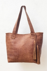 Areias Leather Crocodile Tote Bag - Front cropped