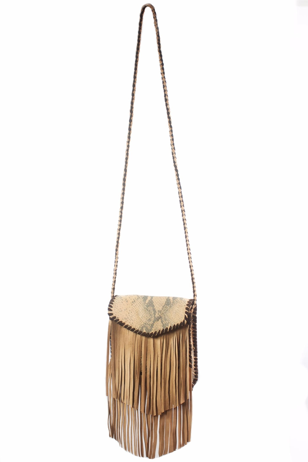 Areias Leather Crossbody Fringe Bag - Main Image