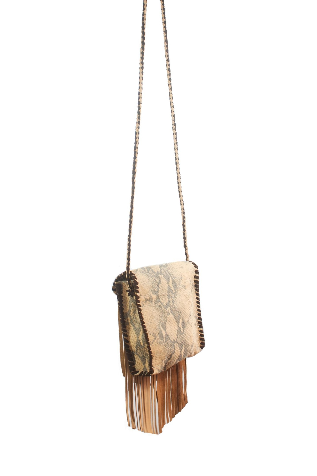 Areias Leather Crossbody Fringe Bag - Front Full Image