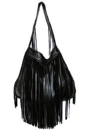 Areias Leather Black Fringe  Bag - Product Mini Image