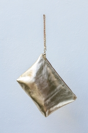Areias Leather Gold Clutch - Side cropped