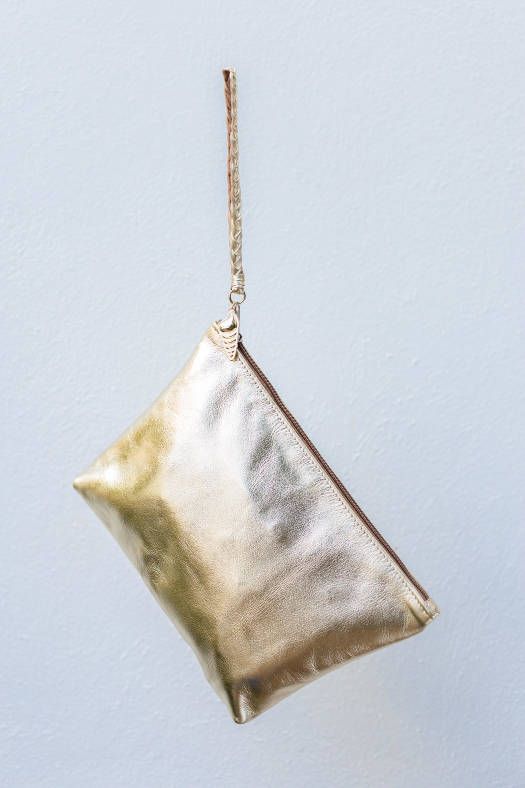 Areias Leather Gold Clutch - Main Image