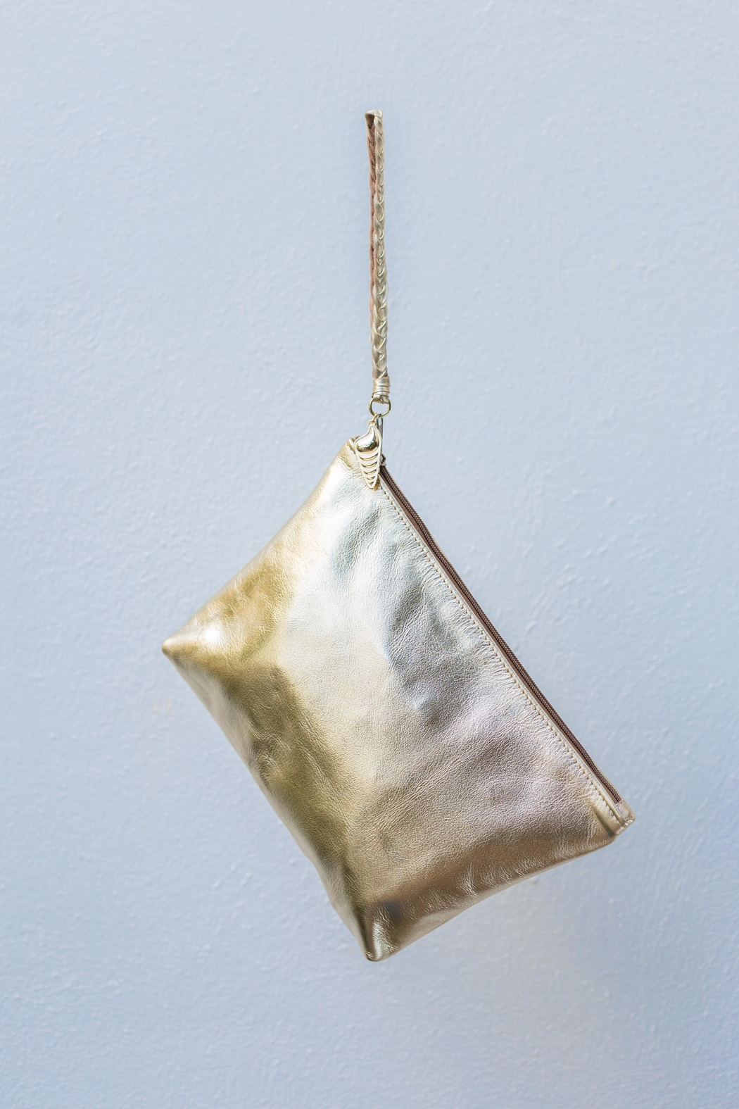 Areias Leather Gold Clutch - Front Full Image