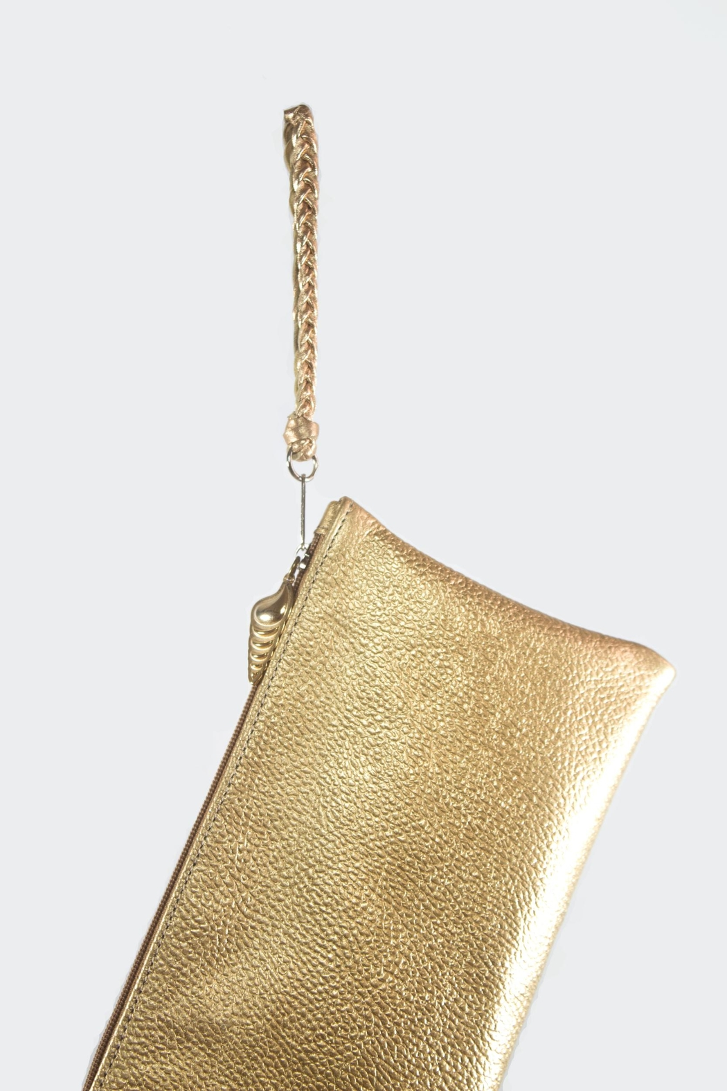 Areias Leather Golden Leather Clutch - Front Full Image