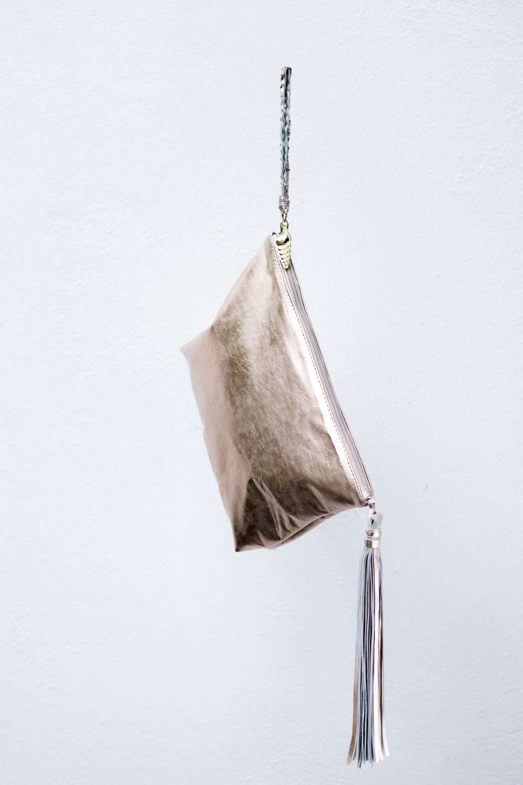 Areias Leather Golden Pink Tassel Clutch - Main Image