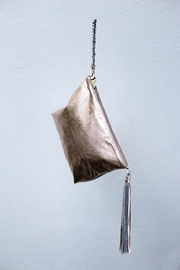 Areias Leather Golden Pink Tassel Clutch - Side cropped