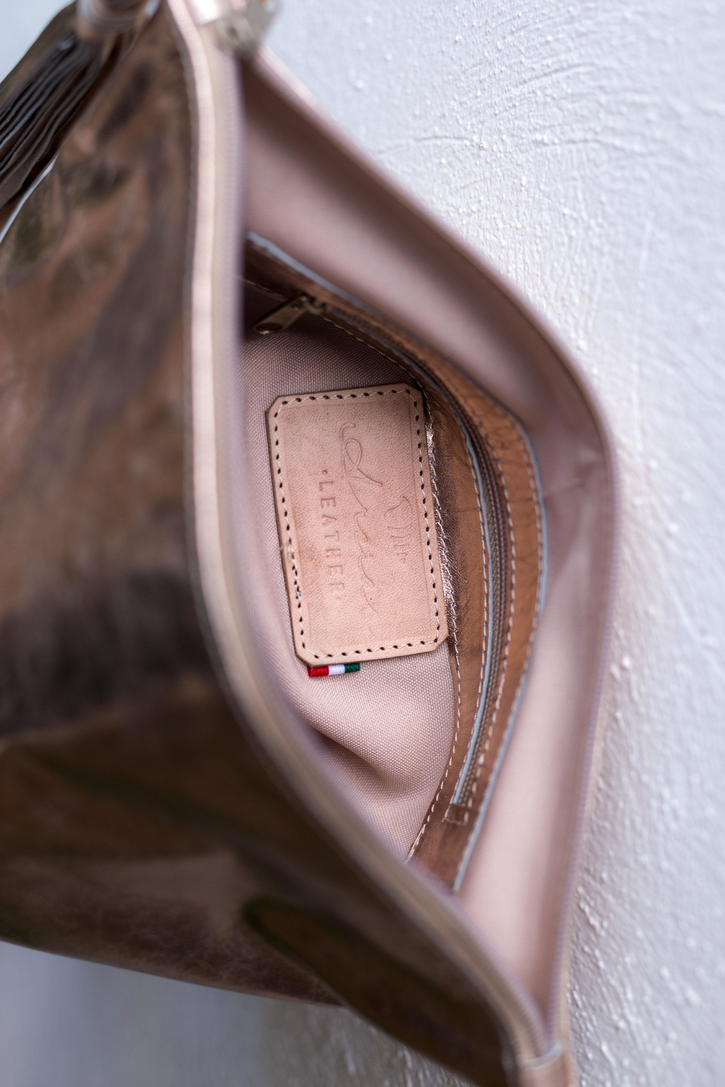 Areias Leather Golden Pink Tassel Clutch - Back Cropped Image