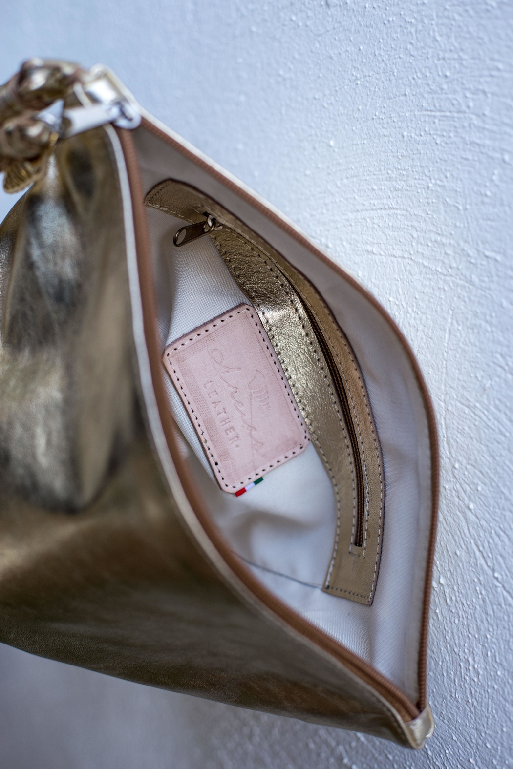 Areias Leather Golden Tassel Clutch - Side Cropped Image