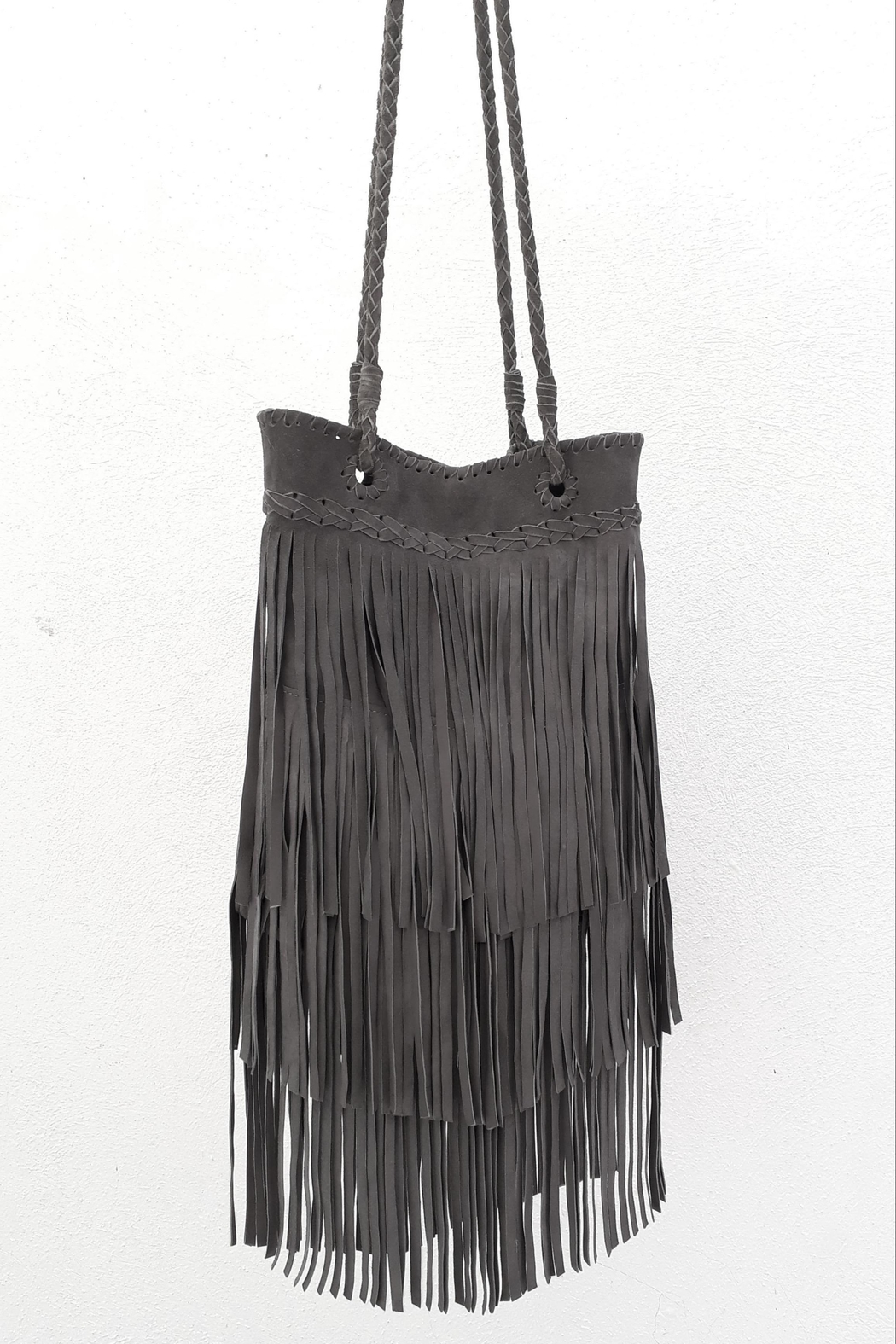 Areias Leather Gray Fringes Bag - Side Cropped Image