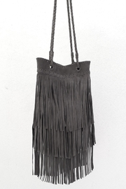 Areias Leather Gray Fringes Bag - Side cropped
