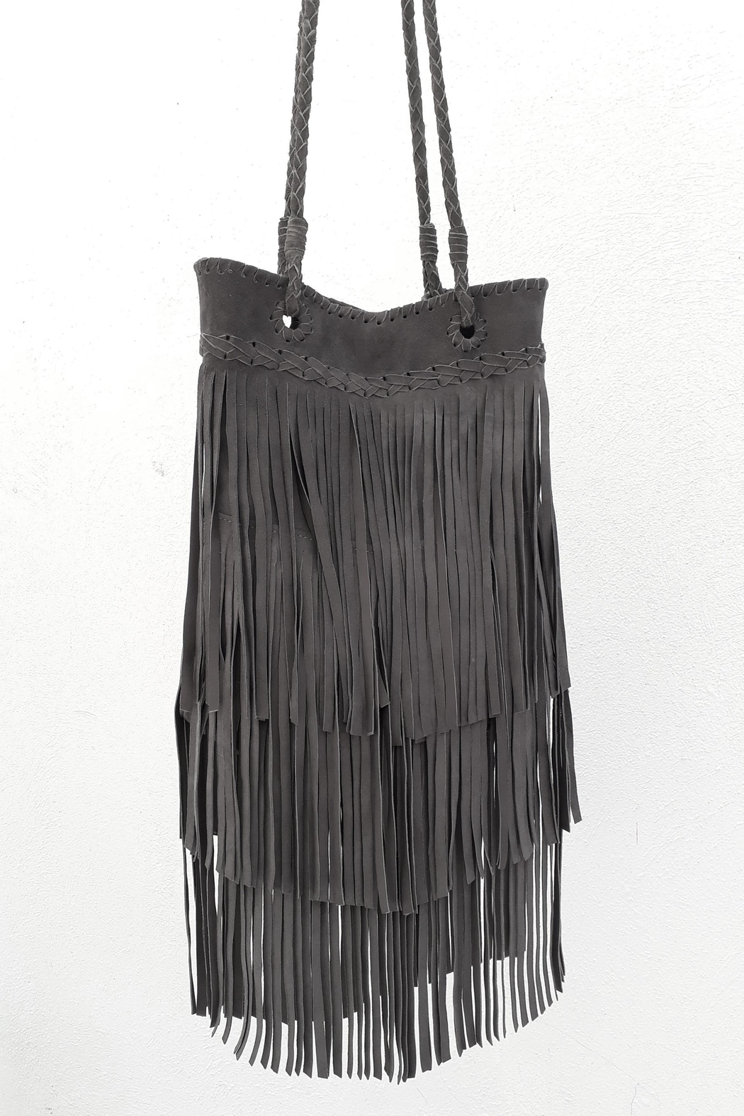 Areias Leather Gray Fringes Bag - Front Full Image