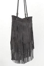 Areias Leather Gray Fringes Bag - Front full body