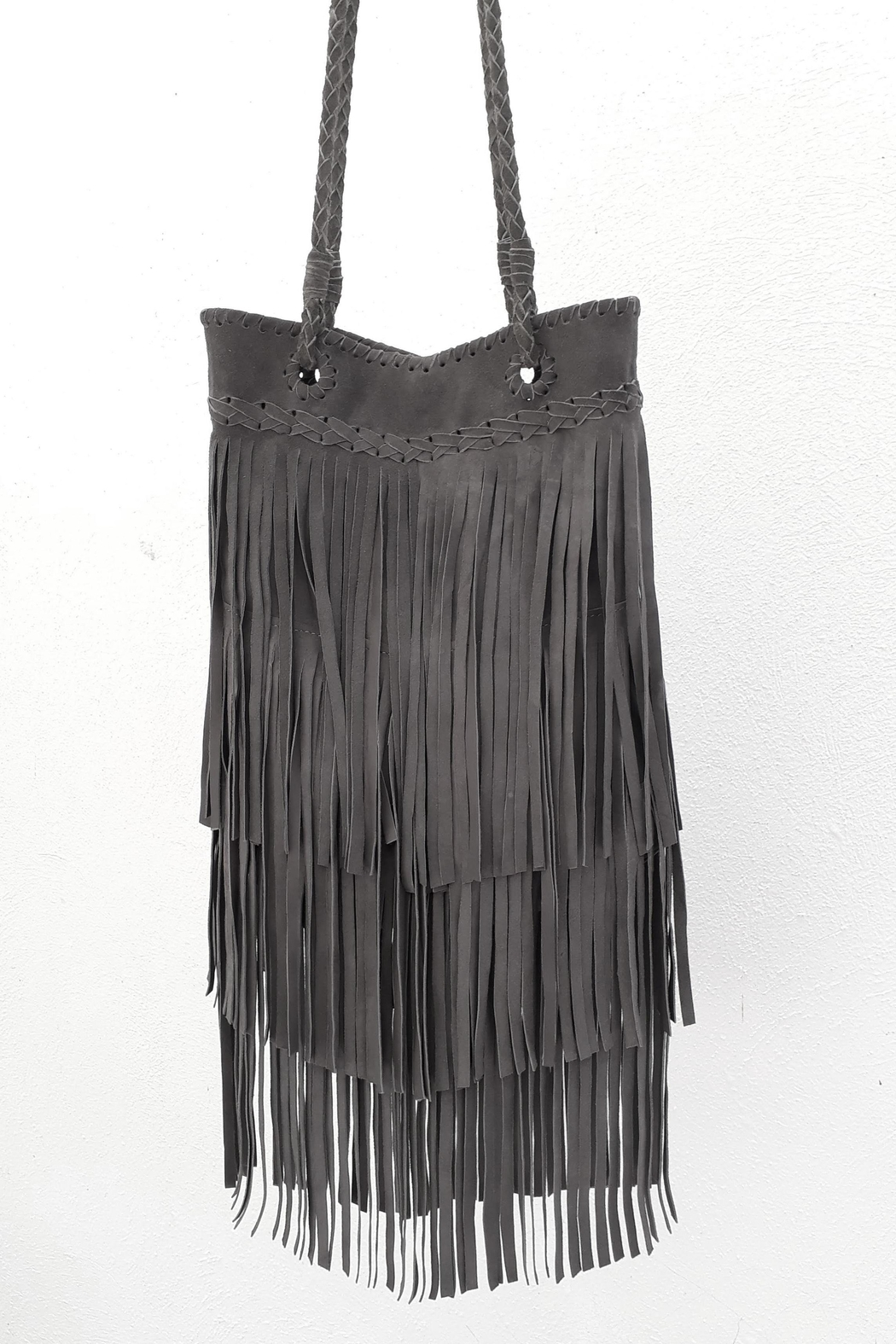 Areias Leather Gray Fringes Bag - Front Cropped Image