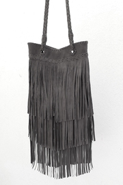 Areias Leather Gray Fringes Bag - Product Mini Image