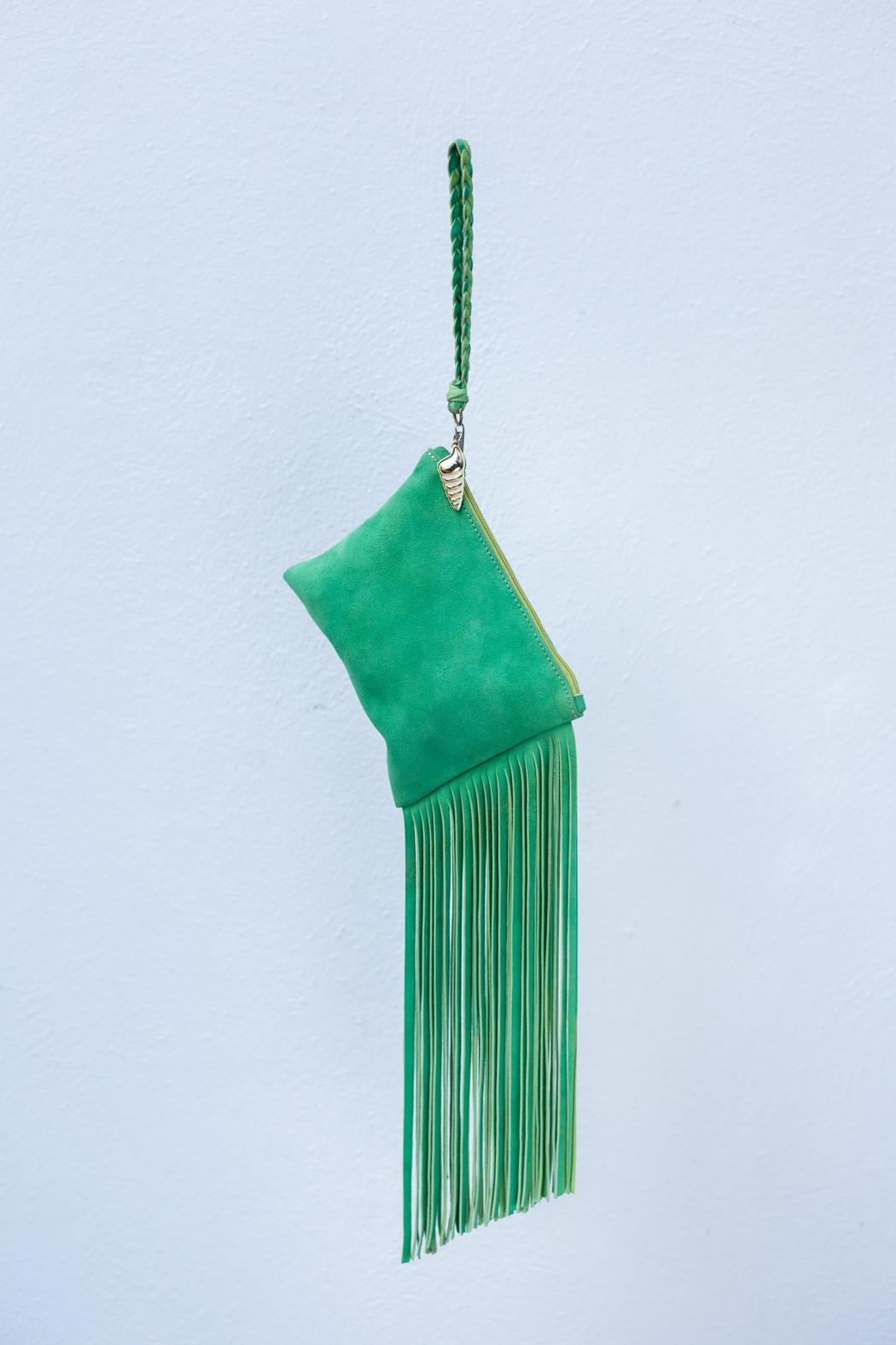 Areias Leather Green Suede Mini-Clutch - Front Full Image