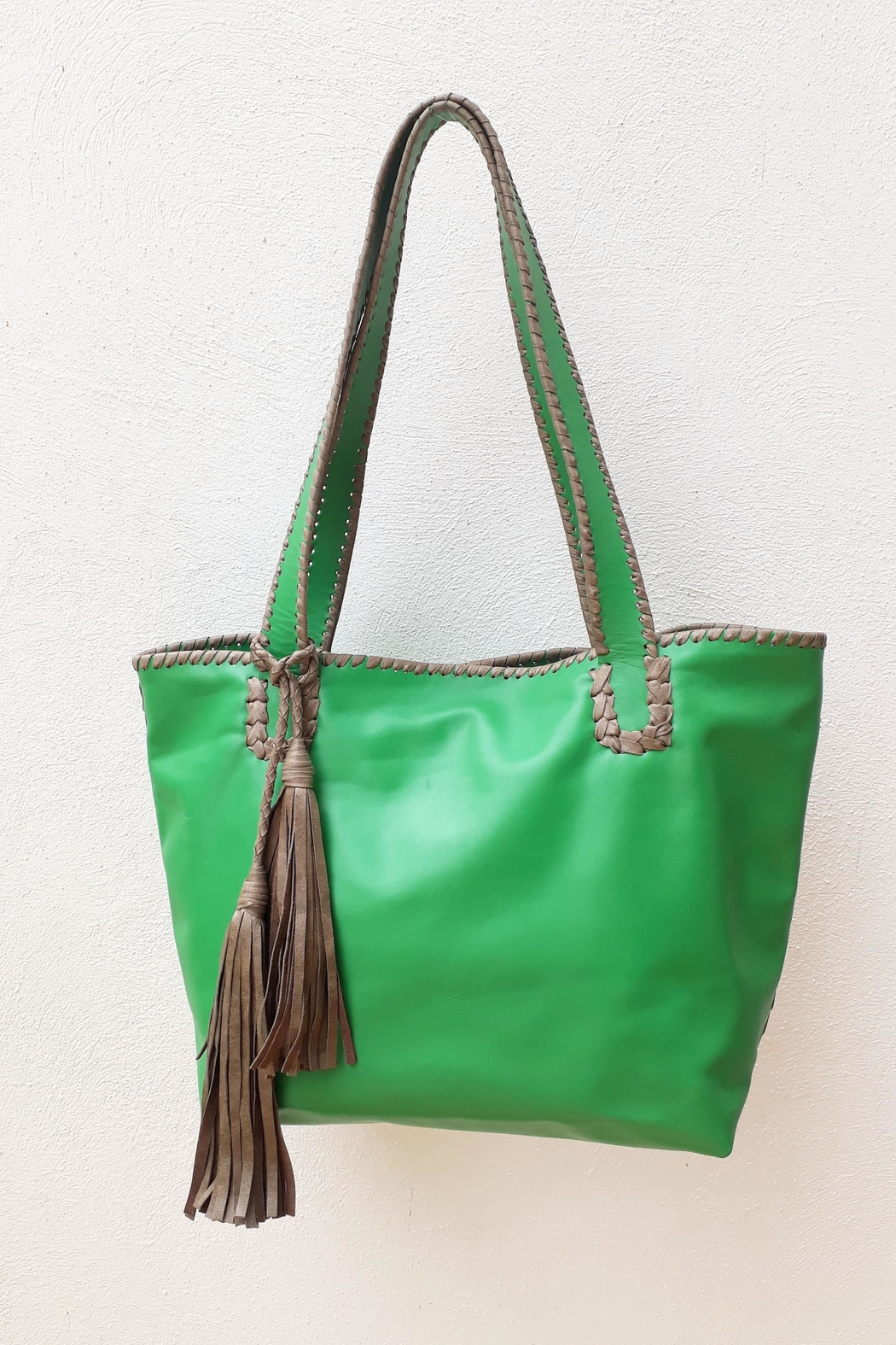 Areias Leather Green Tote Bag - Main Image