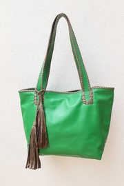 Areias Leather Green Tote Bag - Front cropped