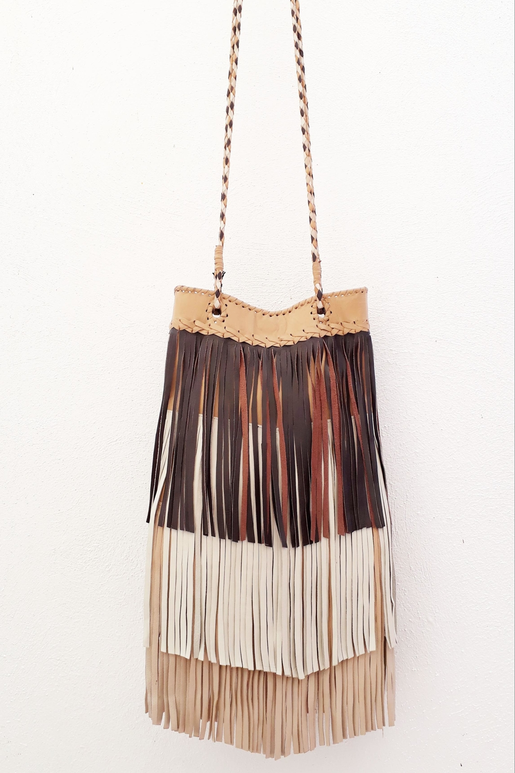 Areias Leather Multicolored Brown Bag - Main Image