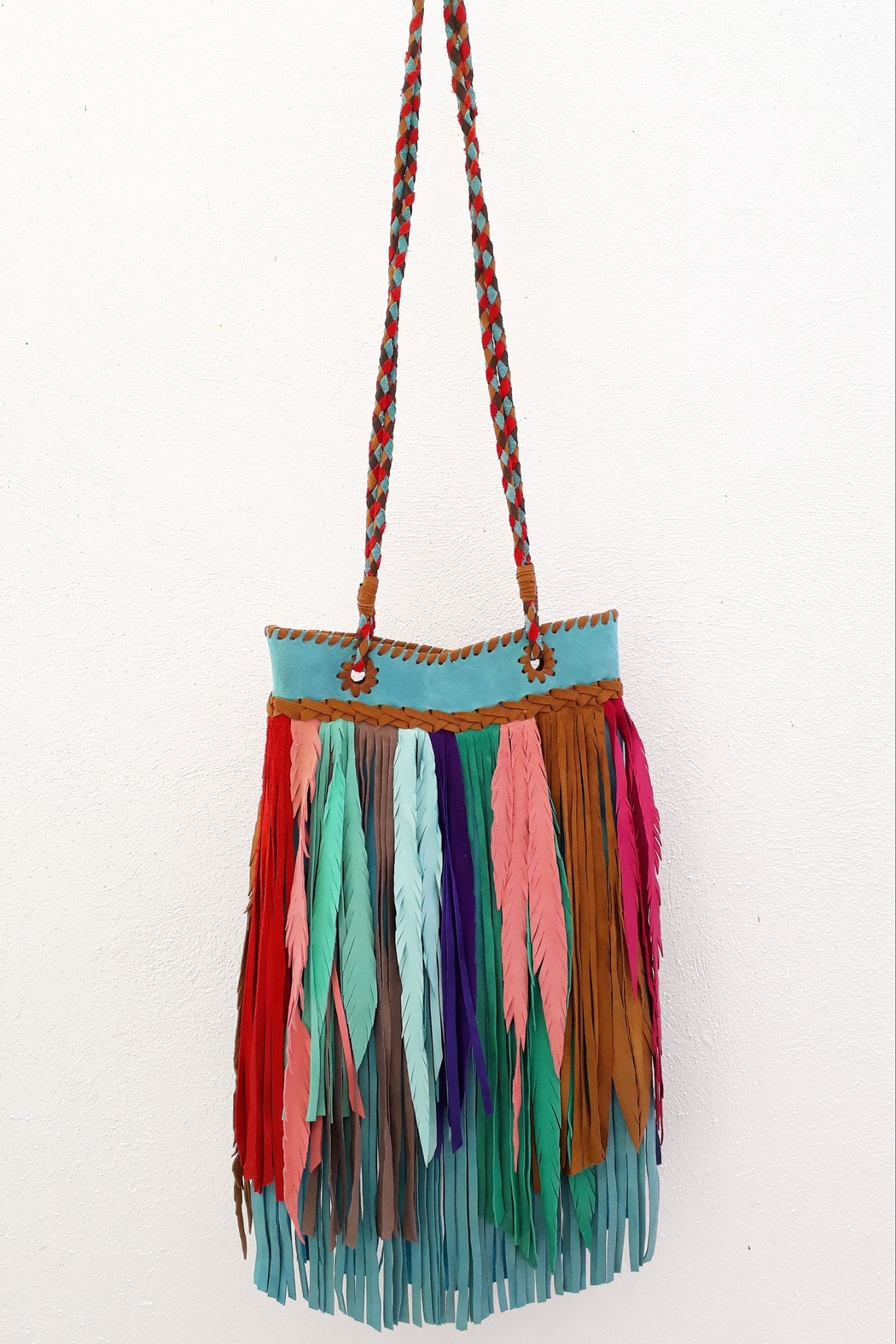 Areias Leather Multicolored Fringes Bag - Main Image