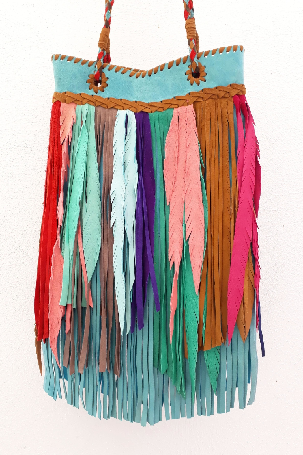 Areias Leather Multicolored Fringes Bag - Front Full Image