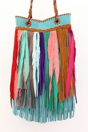 Areias Leather Multicolored Fringes Bag - Front full body