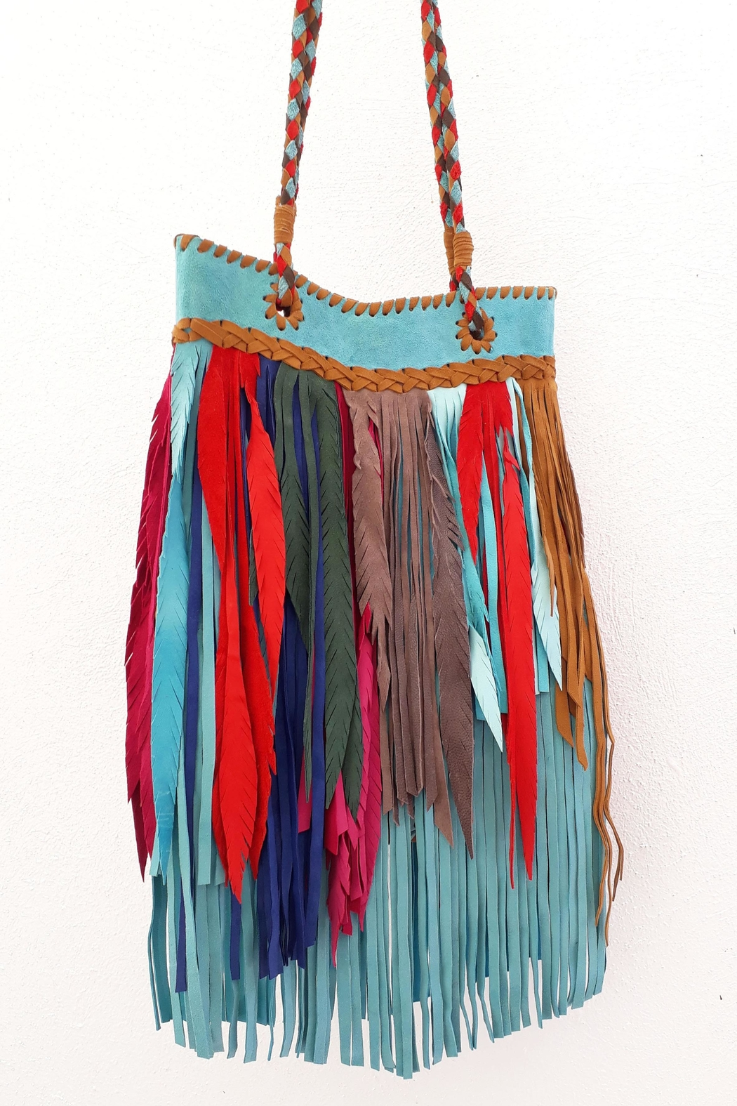 Areias Leather Multicolored Fringes Bag - Side Cropped Image