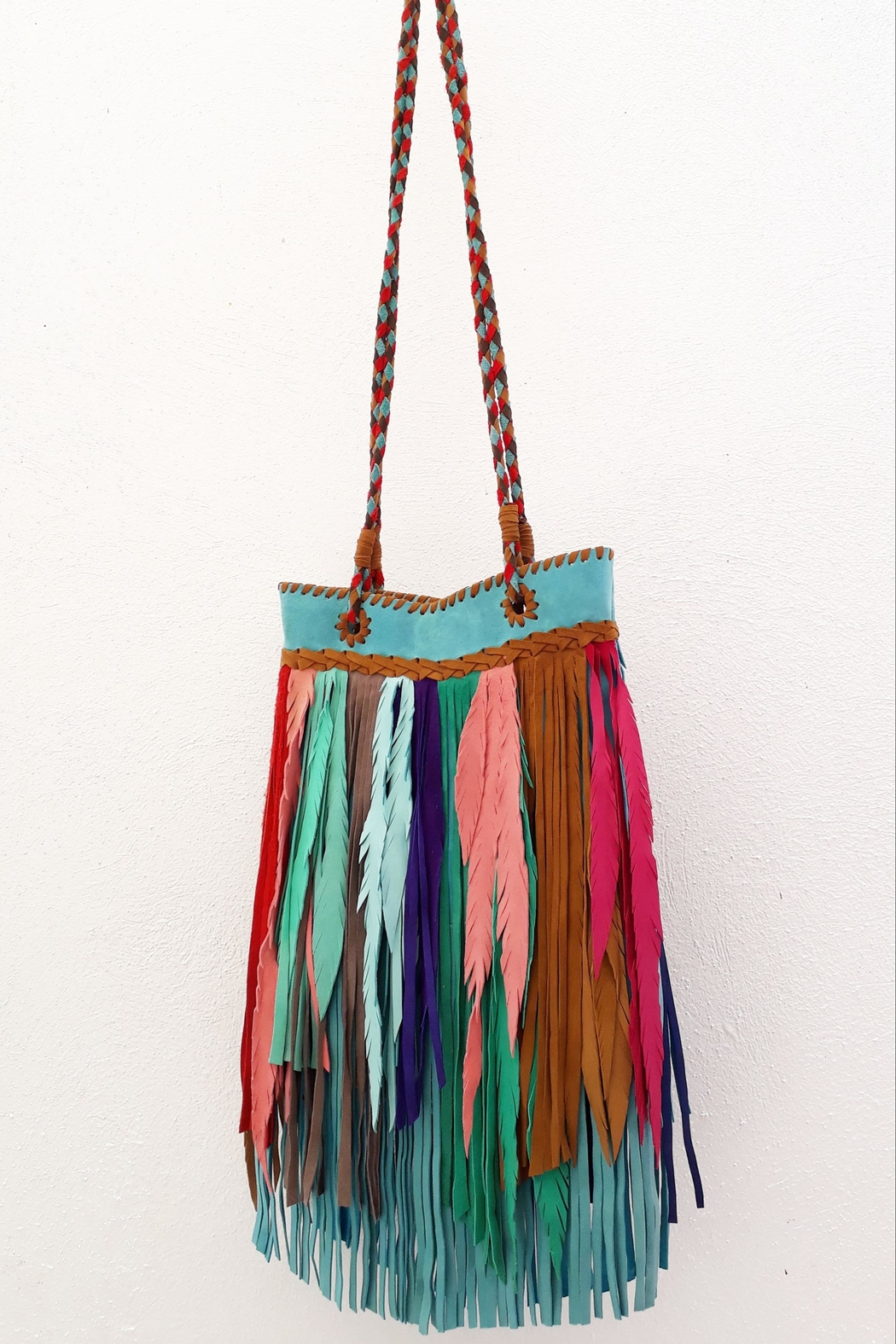 Areias Leather Multicolored Fringes Bag - Back Cropped Image
